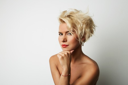 Portrait Young Blonde Head Female Perfect Skin Dreaming Something Interesting Copy Space Wall Your Business Information or Advertising Content, Smiling and Looking Camera
