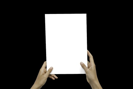 Closeup Blank White Paper Sheet Mockup Holding Female Hands Abstract Black Background