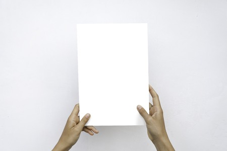 Closeup Blank White Paper Sheet Mockup Holding Female Hands Abstract Grey Background