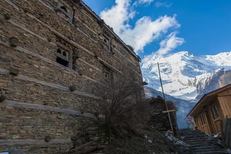 Photo Tracking Himallaya Vilage.View Nepal Mountans Background. Hikking Sport Travel. Horizontal