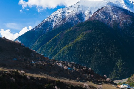 Landscape Himalays Mountains.Asia Nature Morning Viewpoint.Mountain Trekking,View Village Landscape.Horizontal picture. Hikking Sport Activity