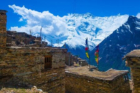 Photo Trakking Himallaya Vilage Path.View Snow Nepal Mountans Background. Hikking Sport Travel. Horizontal Stock Photo - 63727211