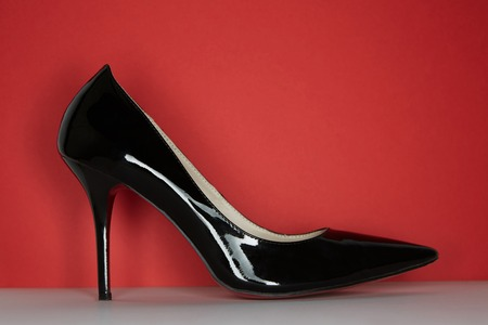 Side view of business style shoes. Business empty mock-up background for message texting.Horizontal mock-up Stock Photo