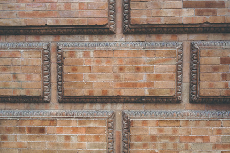 Grunge red brick frame wall background with copy space.Old brick wall, old texture of red stone blocks closeup Stock Photo - 105358620