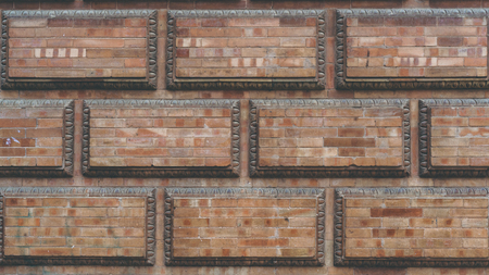 Grunge red brick frame wall background with copy space.Old brick wall, old texture of red stone blocks closeup Stock Photo - 105358622