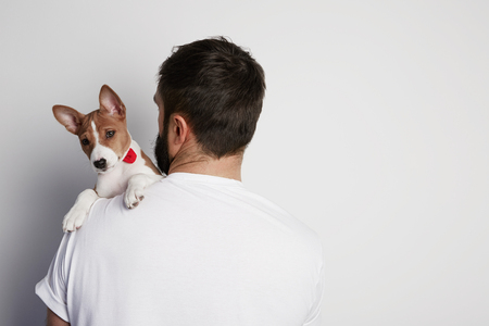 Handsome man snuggling and hugging his basenji puppy dog, close friendship against a white background Stock Photo