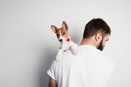Handsome bearded man snuggling and hugging his basenji puppy dog, close friendship against a white background. Copy paste space mock-up