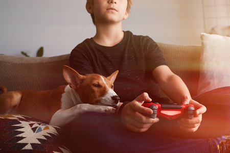 Little cute boy playing video game console seated on a sofa with basenji dog puppy close in living room at home.