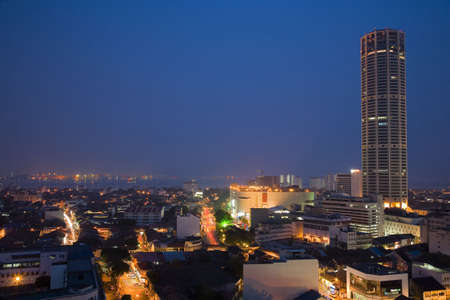 night view of Penang Georgetown Stock Photo