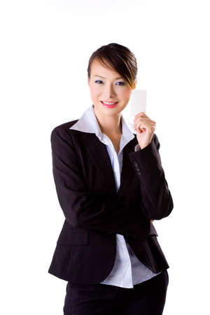 business woman presenting her business card Stock Photo - 2060422