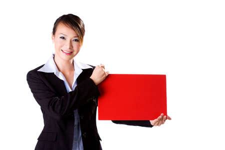 happy smiling business executive holding a red board photo