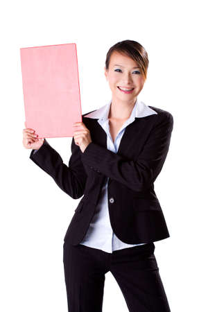 happy smiling business executive holding a f4 size blank board Stock Photo - 2066119