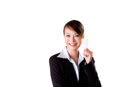 beautiful businesswoman with a smile, holding a card photo