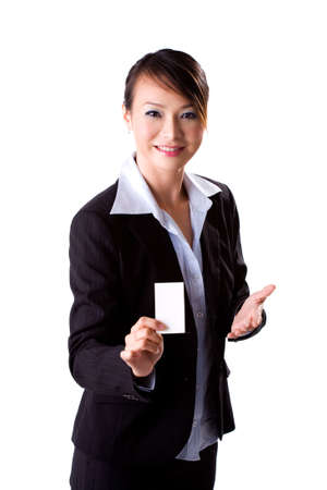 young successful businesswoman presenting business card photo