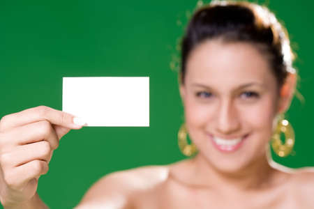 a young business executive presenting her call card Stock Photo - 2109903