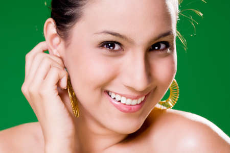 facial close up of a beautiful eurasian woman with a happy smile Stock Photo - 2197691