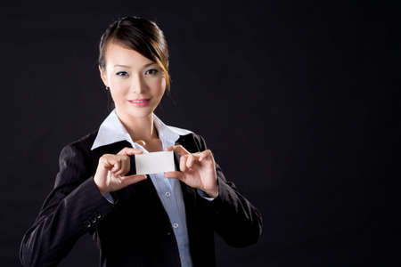business woman with a card photo
