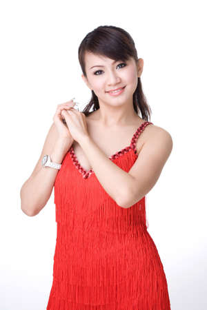 both: red dress chinese girl holding both hands smiling