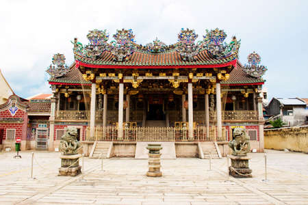 craftmanship: front view of a beautiful and grand clan temple in penang with traditional chinese craftmanship roof Stock Photo