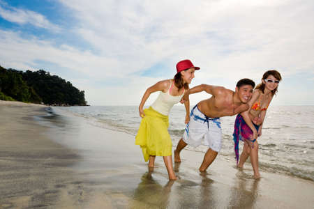 group of friends have fun holiday by the beautiful beach Stock Photo - 2640789