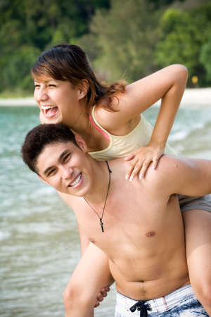 couple having fun with each other by the beach Stock Photo - 2640732