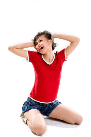 tenage girl stress out until headache Stock Photo - 2651474