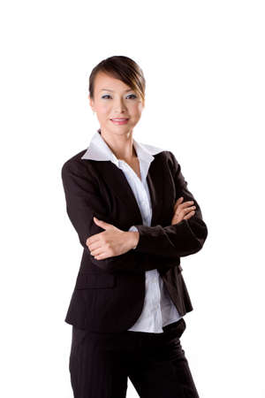 young beautiful confident business woman on isolated white background photo