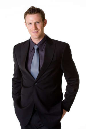 expressing: caucasian man in formal  business suit Stock Photo