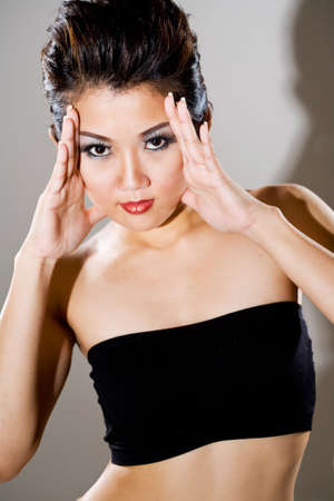 pretty asian woman close up portrait Stock Photo - 3092852