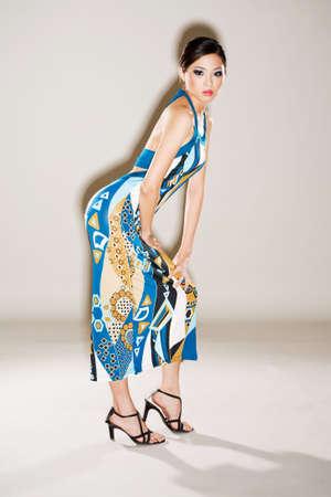 pretty asian woman in blue dress Stock Photo - 3096134