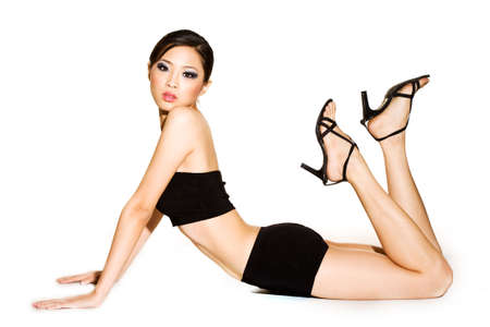 beautiful asian girl witha aphinx like pose Stock Photo - 3199705