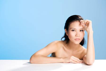gorgeous asian woman head and shoulders photo