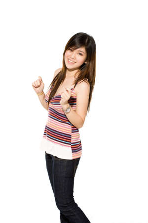 young asian girl feeling very happy