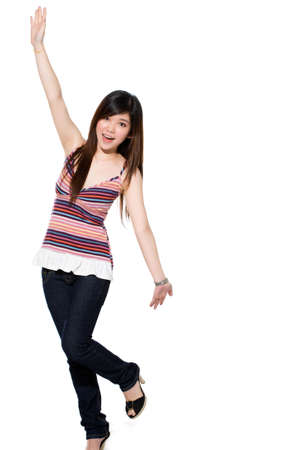excited teenange girl stretch out her hands happily