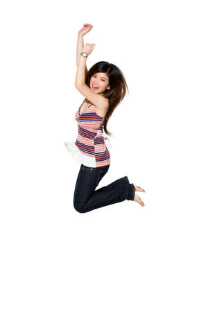 happy teenage girl jumping excitedly knowing her success