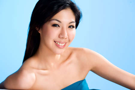clean and refreshing smiling face of an asian young woman