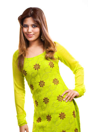 asian Muslim young woman wearing traditional Punjabi clothe green in color