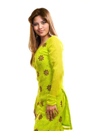 punjabi: asian Muslim young woman wearing traditional Punjabi clothe green in color