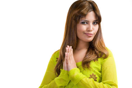 clothe: asian Muslim young woman wearing traditional Punjabi clothe green in color