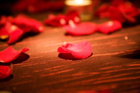 red rose petals spread on the table for special occasion
