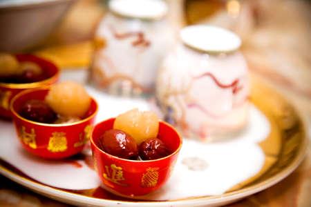 繁体中国語の結婚式の茶道カトラリーと提供