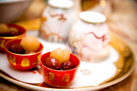 chinese teapot: traditional chinese wedding tea ceremony cutlery and serving Stock Photo