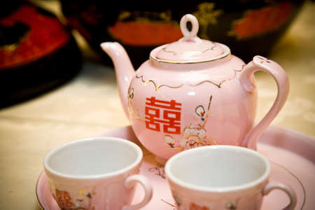 traditional chinese tea pot set with twin happiness character on it Stock Photo