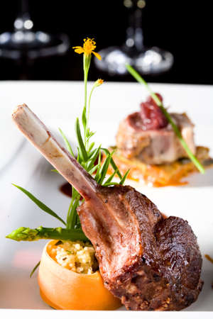 displayed: a piece of lamb chop meal with rib beautifully displayed