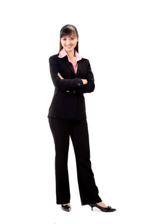 young woman in business attire and smiling photo