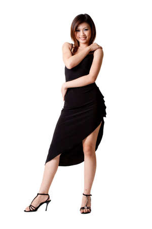 seductress: beautiful asian woman in a little black dress Stock Photo
