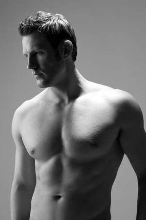 profile view of a hunky caucasian man photo