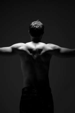 gay men: muscular back