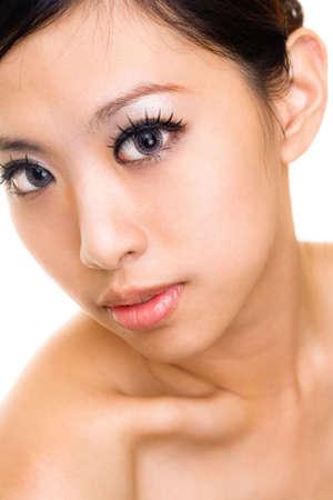lentes contacto: mujer bella asi�tica cara tez con maquillaje y lentes de contacto