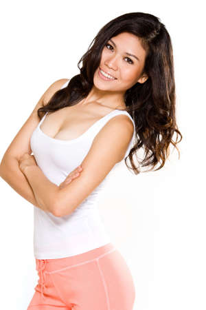 beautiful tanned skin asian woman with happy smile